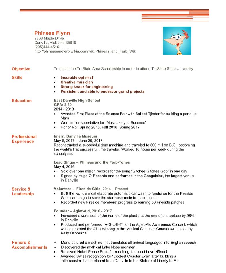 Phineas Flynn Resume